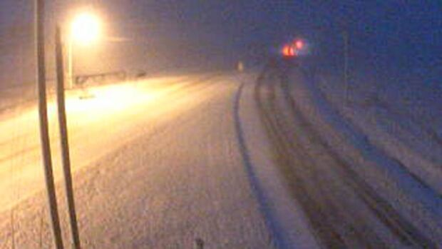 The P.E.I. government webcam on the Blue Shank Road near Summerside showed the highway snow covered before 7 a.m.