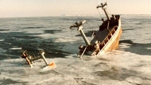 Sinking of the Manolis L, archival phot