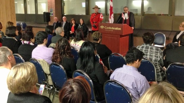 Citizenship Judge Harry Dhaliwal swore in 32 new Canadians from 18 countries at a ceremony in Thunder Bay Wednesday.