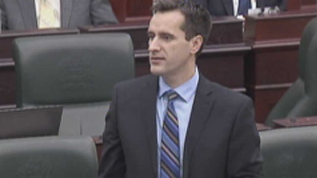 Wildrose MLA Rob Anderson debating Bill 45 in the Alberta legislature Wednesday night.
