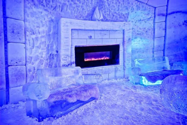 snow village montreal fireplace