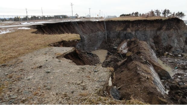 Another 10 metres of land has slipped away in a part of Daniel's Harbour that is currently closed off, because of unstable ground.