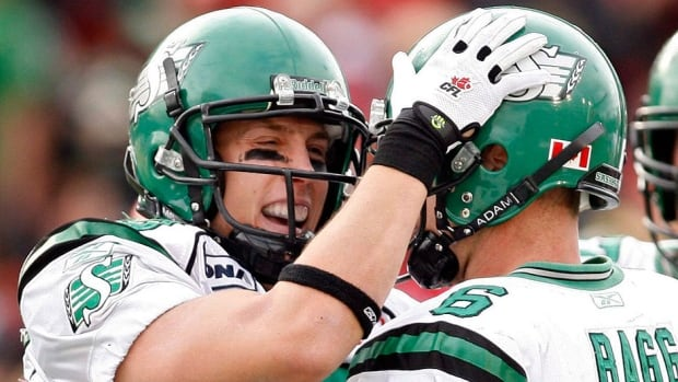 Receivers Chris Getzlaf, left, and Rob Bagg have signed contract extensions with the Roughriders through 2015. Saskatchewan also got offensive linemen Brendon LaBatte and Dominic Picard under contract Thursday.