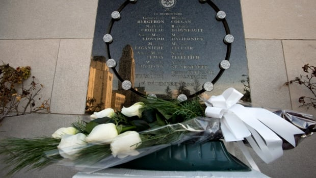 Fourteen white roses, in memory of the 14 women students killed by a lone gunman, are placed each year in front of the commemorative plaque at the University of Montreal's École Polytechnique on the anniversary of the Montreal Massacre.