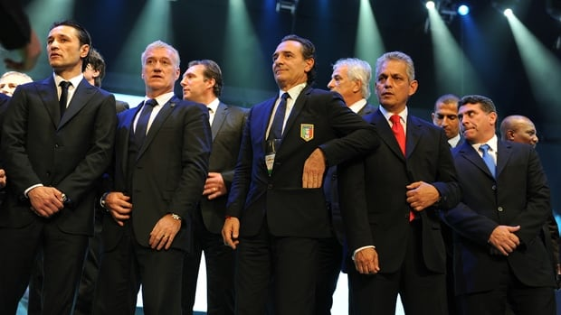 Left to right, Croatia coach Niko Kovac, France coach Didier Deschamps, Italy coach Cesare Prandelli, Ecuador coach Reinaldo Rueda and Honduras coach Luis Fernando Suarez in Brazil, on December 6, 2013.