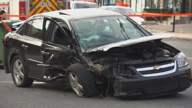 Several cars were damaged when a black Pontiac carrying a 76-year-old woman and 90-year-old man hit two pedestrians and two cars in Côte-des-Neiges.