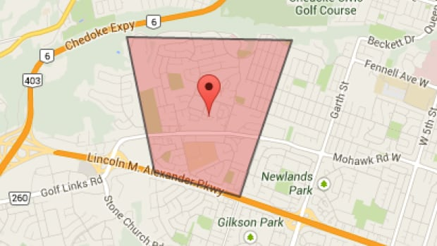 A map shows the area on Hamilton's West Mountain that experienced a power outage on Sunday afternoon.