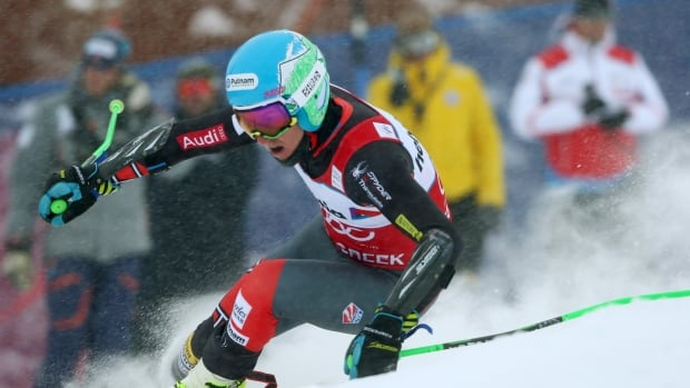 Ted Ligety makes a turn on his first run during the men's giant slalom Sunday in Beaver Creek, Colo.