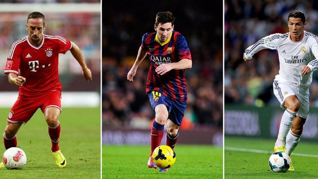 From left, Franck Ribery, Lionel Messi and Cristiano Ronaldo are in the mix for the FIFA Ballon d'Or 2013, awarded to soccer's best player.