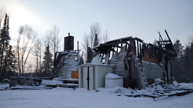 Fire destroyed this home on Dawson Road in Thunder Bay Sunday night.
