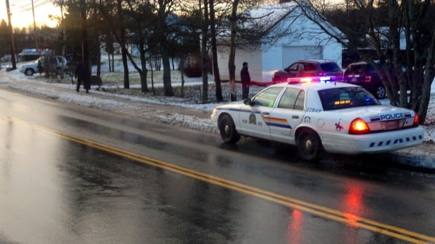Police at the scene of a vehicle-pedestrian crash on St. Margarets Bay Road Tuesday morning.