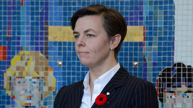 Labour Minister Dr. Kellie Leitch speaks at a news conference on Parliament Hill in Ottawa on Tuesday, Nov. 5, 2013. A group of unions say she will have the final word on if a situation is safe for workers.