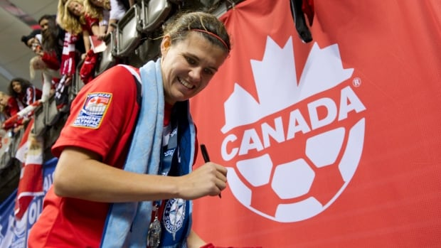 Canada's captain Christine Sinclair has 146 career goals, and is third behind Americans Abby Wambach and Mia Hamm.
