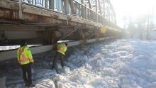 Ice jam - Kicking Horse River at Golden - 1