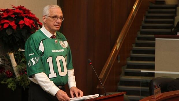 Mayor Bob Bratina wore a Saskatchewan Roughriders jersey during a Hamilton city council meeting last year to fulfil his part of a Grey Cup bet.