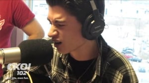 David Thibault, 16, gave a pitch-perfect performance of The King's Christmas classic at a Quebec City radio station.