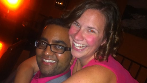Dr. Nikhil Joshi, with his longtime friend and wing-woman, Dr. Jen Bruce, out on the town on the night he met the woman in the blue dress.