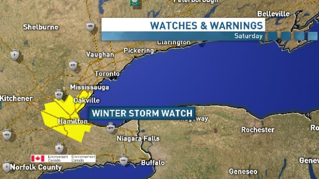Environment Canada issued a winter storm watch for Hamilton and surrounding cities for Friday, Dec. 13 and Saturday, Dec. 14.