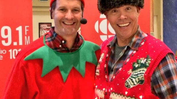 "Ugly sweaters, like the one Tim Tamashiro is wearing alongside Doug ""The Elf"" Dirks, will be front and centre at this weekend's Grinchmas Ugly Sweater Party."