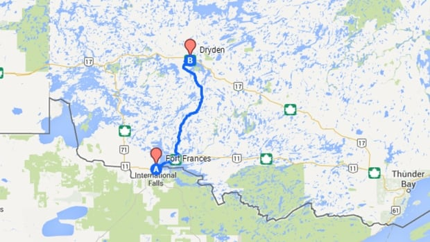 Map shows Highway 502 between the Dryden and Fort Frances areas.