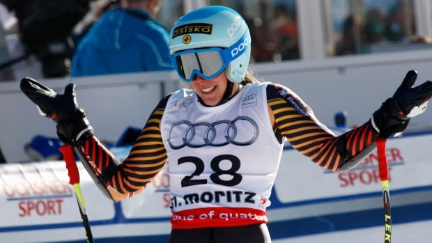 Canada's Marie-Michele Gagnon smiles in the finish area after completing a career best super-G performance on the World Cup circuit.