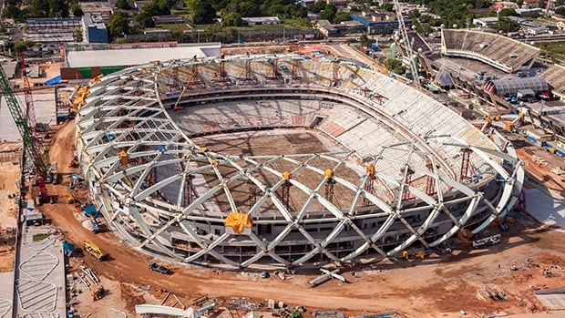 Aerial view of the ongoing construction of the Arena da Amazonia stadium in Manaus, Brazil.
