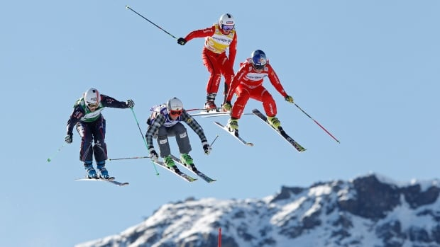 Alizee Baron of France, left, Marielle Thompson of Canada, second left, Jorinde Mueller, second right, and Fanny Smith, both of Switzerland, compete on Sunday.