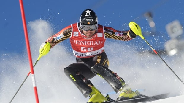 Canada's Julien Cousineau competes during the first run in Val d'Isere, France on Sunday.