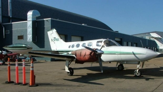 The Cessna 421 with tail number C-GFMX is pictured in a 2008 photo taken at Edmonton Airport. The plane was reported missing Saturday, Dec. 14 after leaving Abbotsford airport in B.C. bound for Tofino on Vancouver Island. The wreckage was located Sunday on Vargas Island, near Tofino. The father and son aboard the plane did not survive.