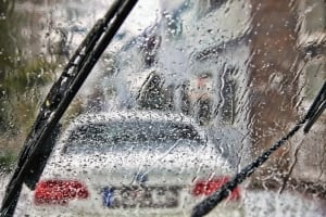 Car windshield wipers in the rain