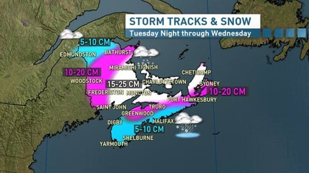 In Nova Scotia across much of the mainland there will be significant mixing of ice pellets and a change to rain for most Wednesday morning, keeping accumulations a little lower.