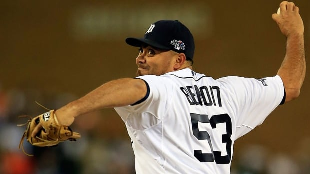 Joaquin Benoit, who saved 24 games for the Tigers in 2013, is expected to replace setup man Luke Gregerson in the Padres bullpen after he was traded to Oakland for outfielder Seth Smith recently.