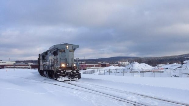 The first freight train to carry cargo out of Lac-Mégantic, Que., since July moved downtown and then backed up again on Wednesday, Dec. 18, 2013.