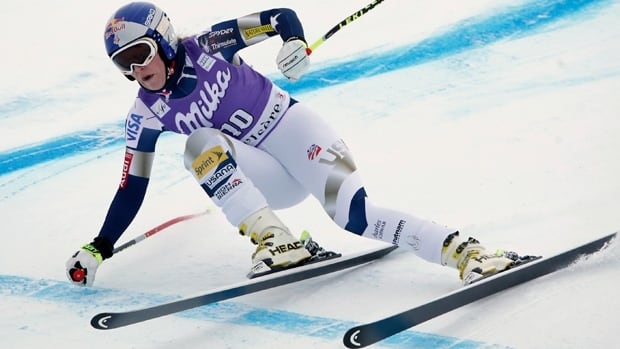 Lindsey Vonn skis the Oreiller-Killy course in a training run at Val d'Isere, France, on Thursday.