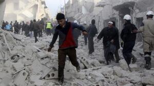 hi Aleppo Syria barrel bomb damage