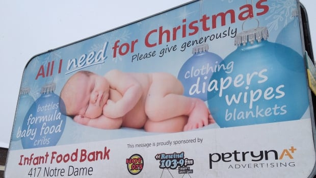 Petryna Advertising has donated an entire ad campaign to Sudbury's infant food bank, but wanted religion left out of it.