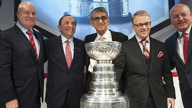 Five instrumental actors in the NHL's Canadian media rights deal with Rogers, left to right: Rogers president of broadcast Scott Moore, NHL commissioner Gary Bettman, outgoing Rogers Communications president and CEO Nadir Mohamed, Rogers Media president Keith Pelley, and NHL deputy commissioner Bill Daly.