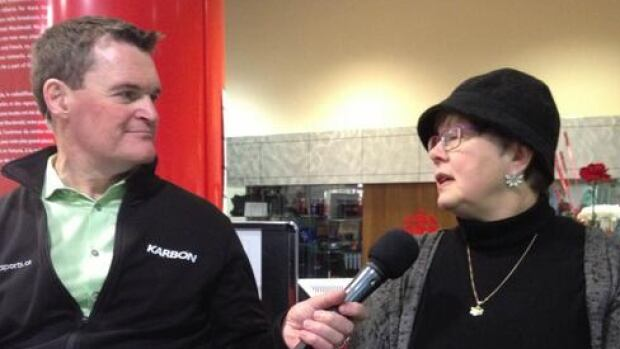 CBC Edmonton AM host Mark Connolly speaks with Edmonton Food Bank's Marjorie Bencz on the final day of CBC's Turkey Drive.