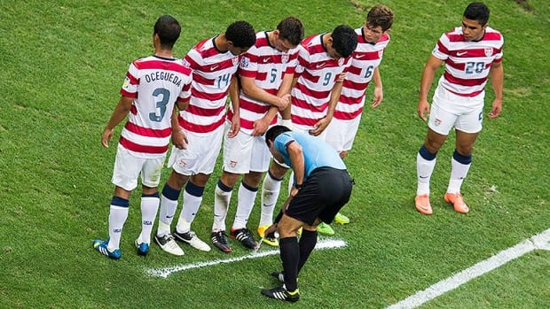 The vanishing spray, on display here at the 2013 Under-20 World Cup in Istanbul, ensures players lining up a defensive wall against a free kick respect the 10-yard distance to the spot of the infraction.