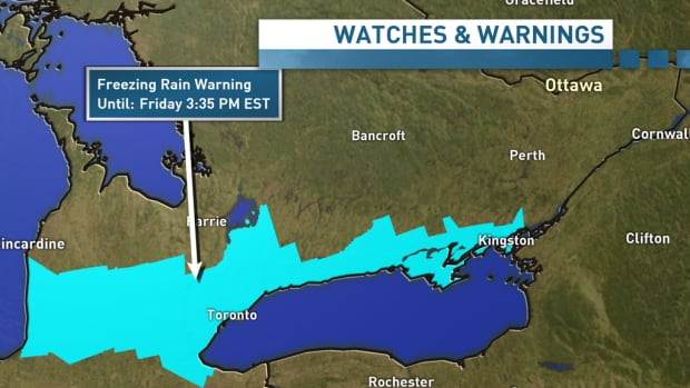 Environment Canada on Thursday issued freezing rain warnings for the area in blue on Friday, from Huron to Belleville and Kingston.