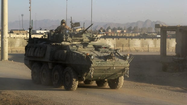 A Canadian Forces LAV III in Afghanistan.  There have been 16 LAV III rollovers after more than 15-million kilometres of driving since the vehicles were introduced in 1999.