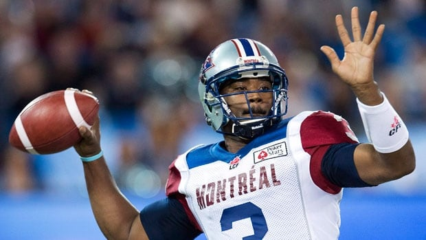 Montreal Alouettes quarterback Troy Smith throws a pass against the Toronto Argonauts during first half CFL football action in Toronto, on Friday, Nov. 1, 2013.