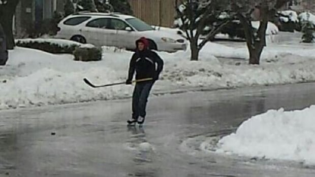 This Kingston, Ont., resident took advantage of the icy winter weather on Saturday morning.