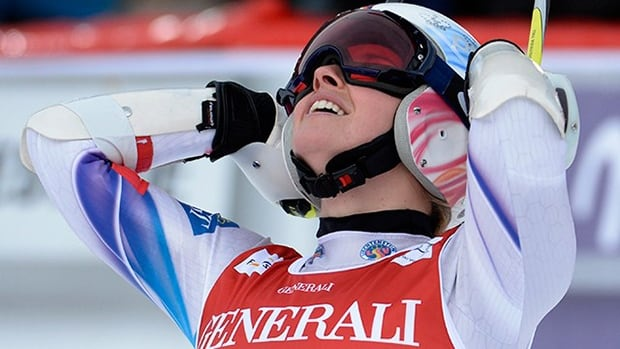 Liechtenstein's Tina Weirather celebrates after winning the women's giant slalom World Cup on Sunday, Dec. 22, 2013., in Val'D'Isere, France.