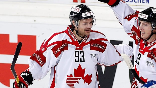 Team Canada's Byron Ritchie during the 86th Spengler Cup ice hockey tournament, in Davos, Switzerland, Thursday, Dec. 27, 2012.
