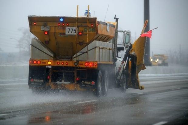 Salt truck near Highway 407 and Keele Street