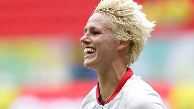 Canada's Sophie Schmidt celebrates after scoring against Scotland at the International Women's Football Tournament in Brasilia, Brazil, Sunday, Dec. 22, 2013.