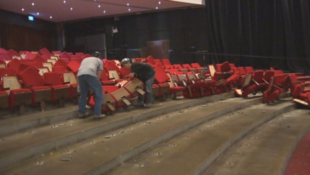 Fifty-year-old seats from the orchestra section of the Confederation Centre are being removed as part of the Homburg Theatre's renovation.
