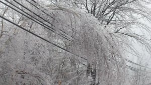 Freezing rain power lines