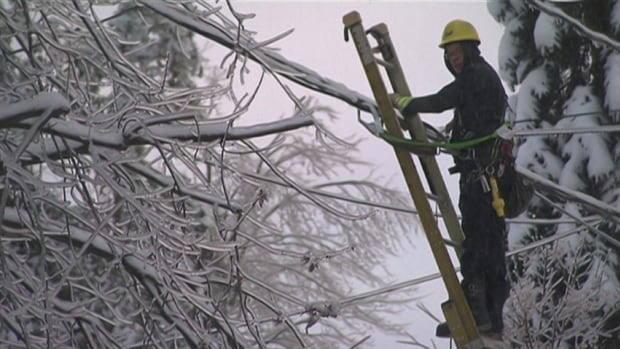 A technicians works to repair power lines in the Eastern Townships. The power has been out since last weekend, and Hydro-Québec says some may only get their power back on at the end of the day on Friday.